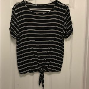 Black/White stripped crop top